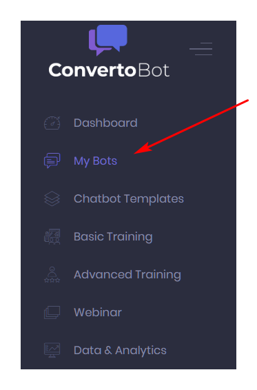 My Bots on dashboard menu