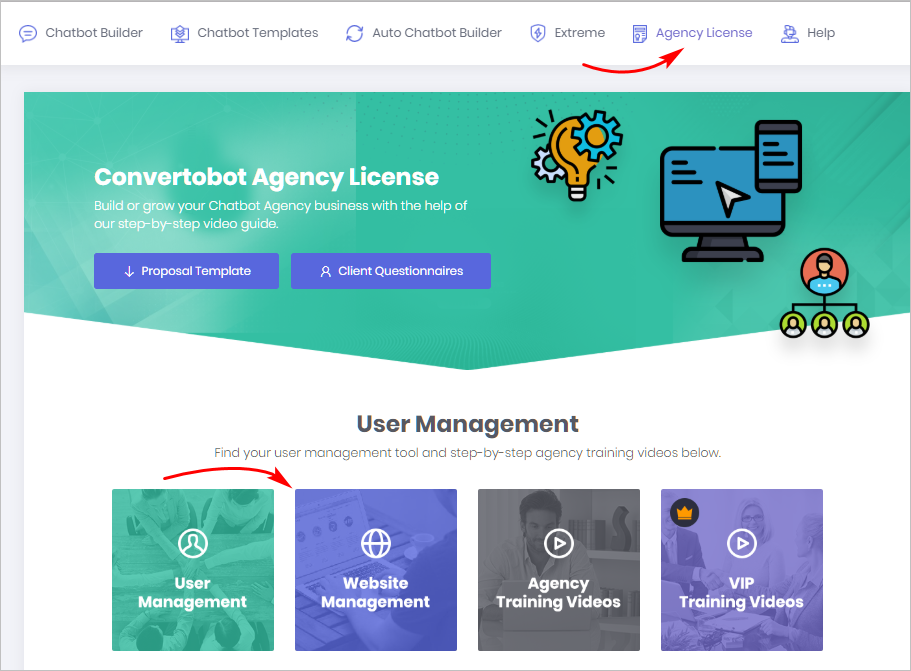 agency license website management