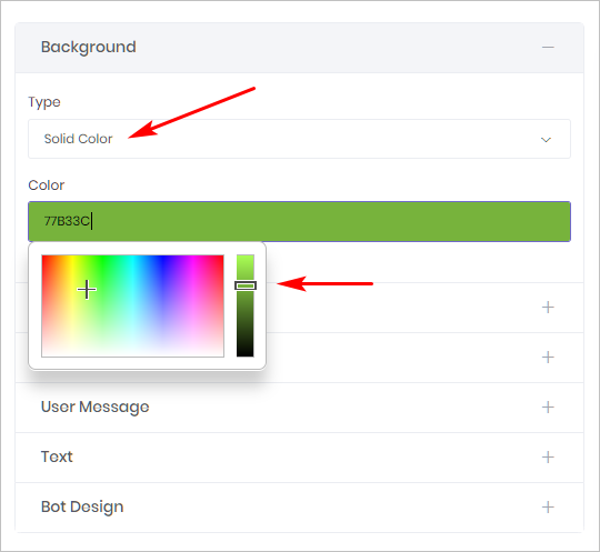 Chatbot Background Color_settings