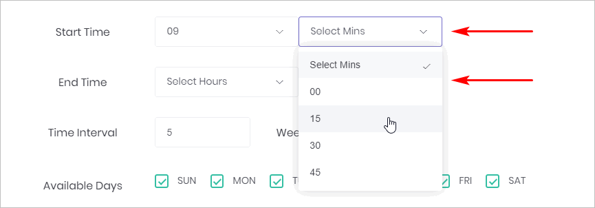 Chatbot booking appointment time setting