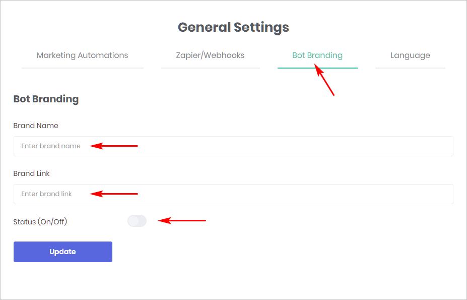 general settings panel for brand option