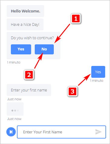 Choosing User Response in the bot