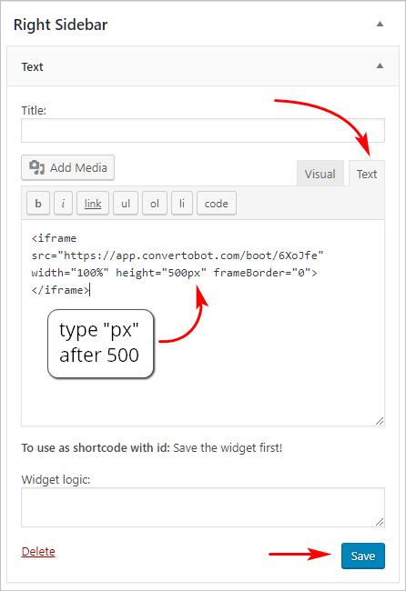 paste iframe code into text widget